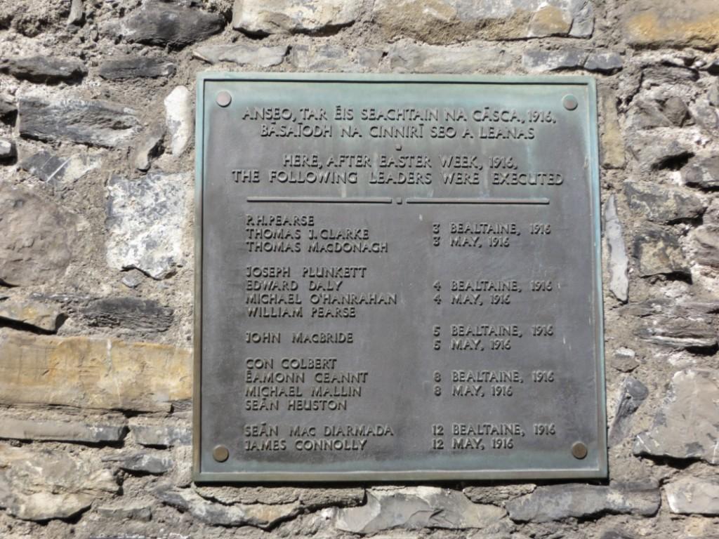 Plaque in Execution Yard, Kilmainham Gaol. © Christy Lawless