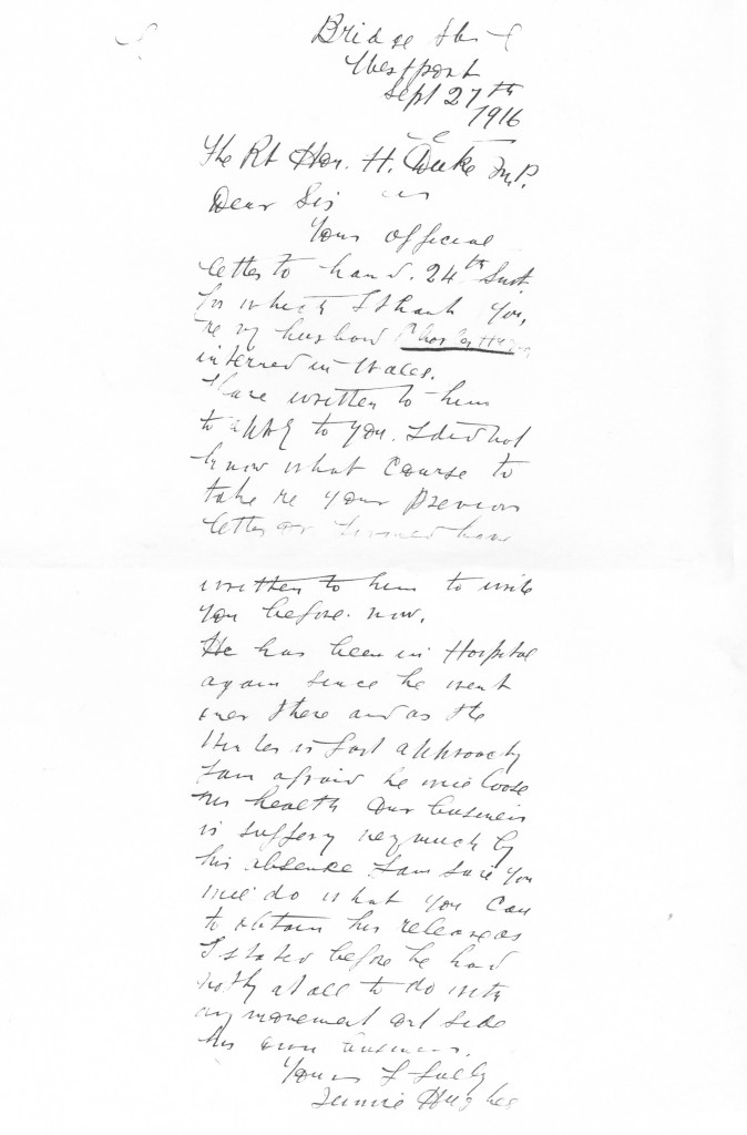 Letters from Mrs. Jennie Hughes to Rt. Hon. H. Duke M.P. 27/09/16