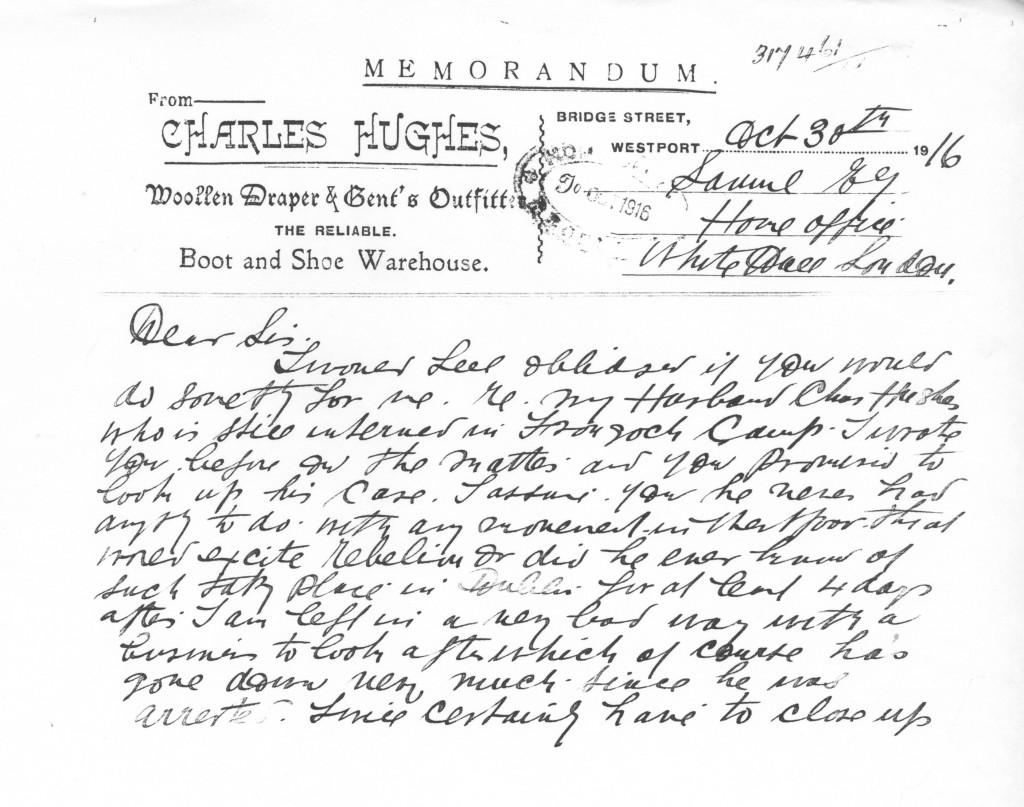 Letter from Mrs Jennie Hughes to the Home Secretary Mr. Herbert Samuel 1-2