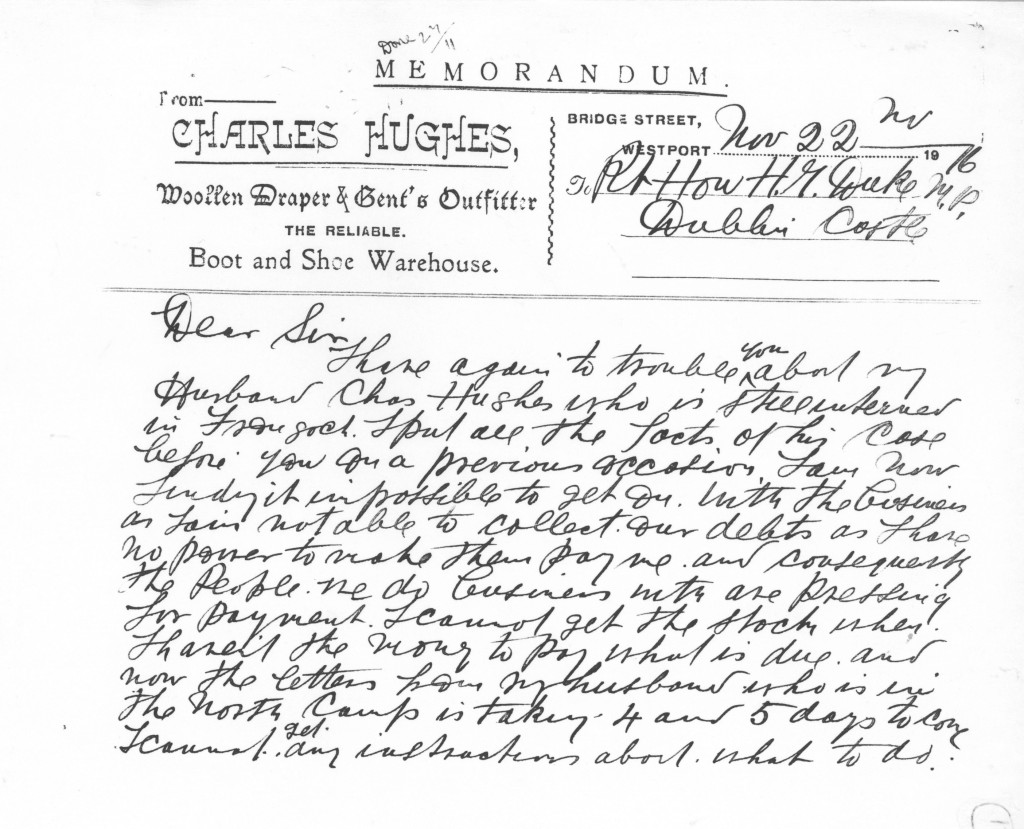 Letter from Mrs. Jennie Hughes to Rt. Hon. H. Duke M.P. 1-2
