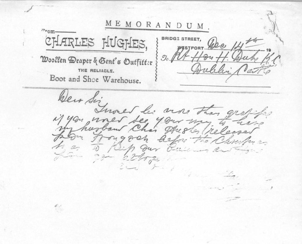 Letter from Mrs. Jennie Hughes to Rt. Hon. H. Duke ICC.