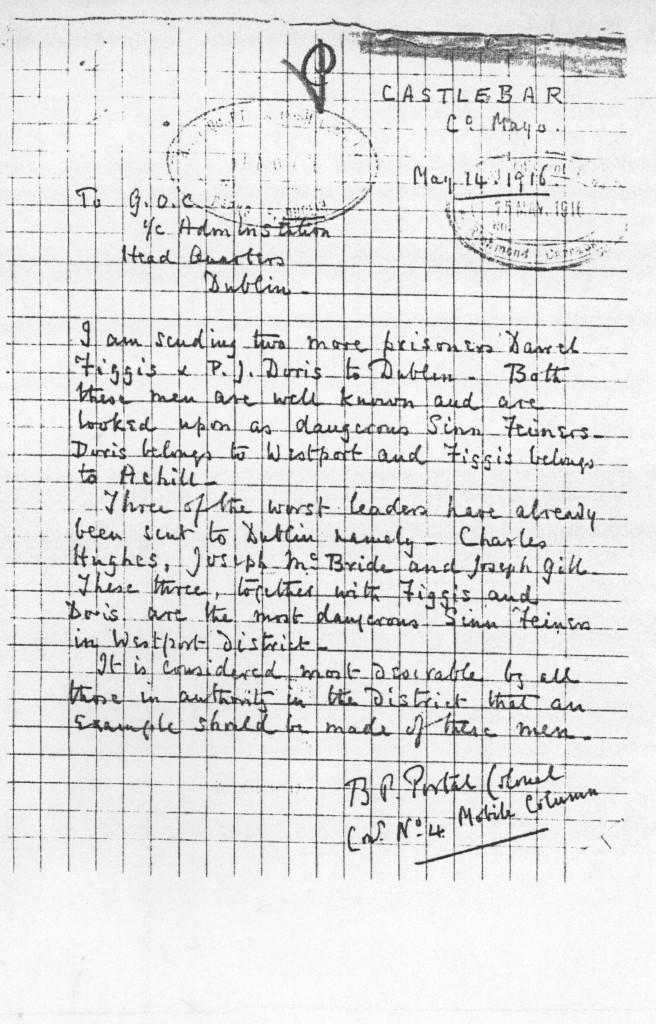 Memo sent by Colonel B. P. Portal in Castlebar to Head Quarters in Dublin