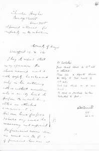 RIC report of Charles Hughes 19.X.16